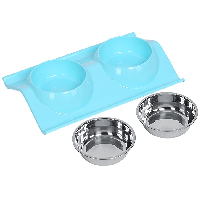Amazon.com: Double Dog Bowls in Multiple Colors Diner Dish Anti Slip Stainless Steel Travel Puppy Cat Food Water Feeder, Clear Blue: Pet Supplies
