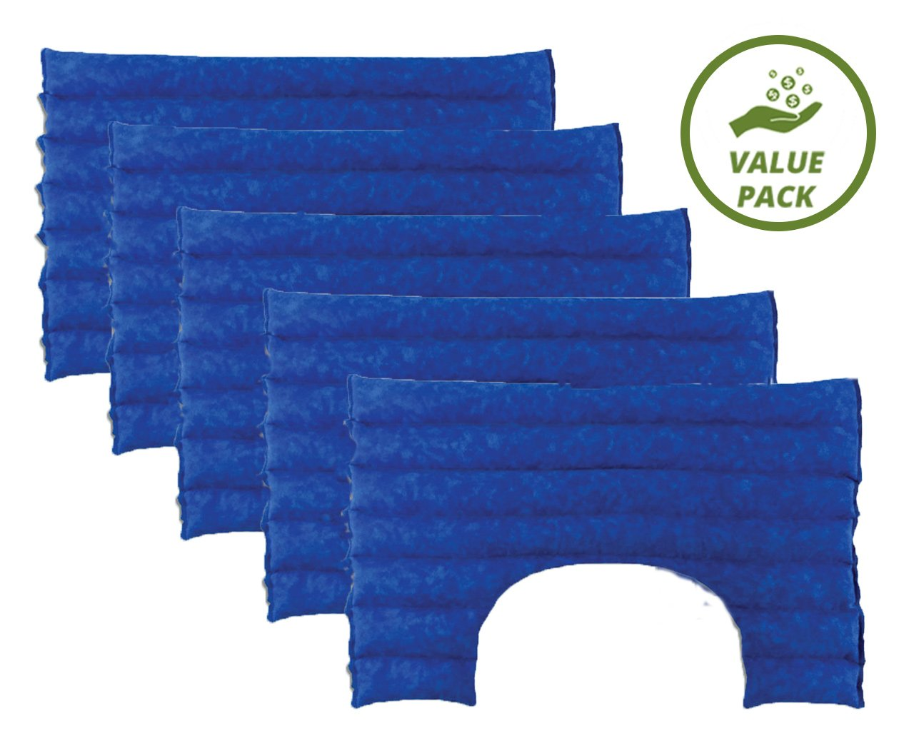 Nature Creation- Neck & Shoulder Herbal Heating Pad SET OF 5 FOR EVERYONE! Natural Hot & Cold Therapy Packs - VALUE PACK (Blue Marble) by Nature Creation