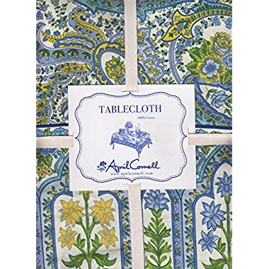 April Cornell Blue Yellow Paisley and Flowers Print Fabric Tablecloth (60 x 104 Rectangle/Oblong)