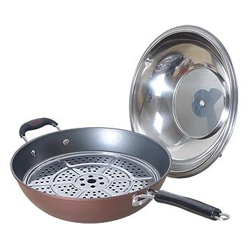 El LE sartenes/utensilios de cocina multifuncionales/sartenes para freír sartén antiadherente/grande/sartén profunda con tapa 12.6/pulgadas/32 cm: ...