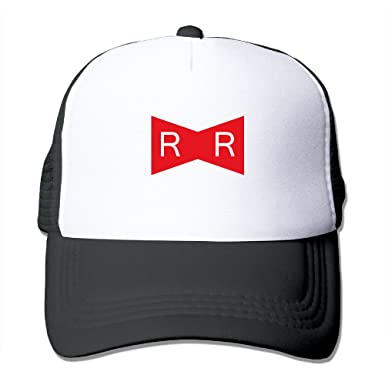 Ball Red Ribbon Army Logo Men s Flexible Mesh Trucker Hat  Amazon.co ... 8508a89a201