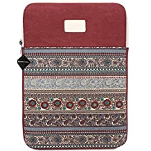 BLOOMSTAR 13 Inch Bohemian Canvas Protective Laptop Sleeve Bag Notebook Case Cover for MacBook Chromebook Acer Dell HP Samsung Sony (Vertical, Red)