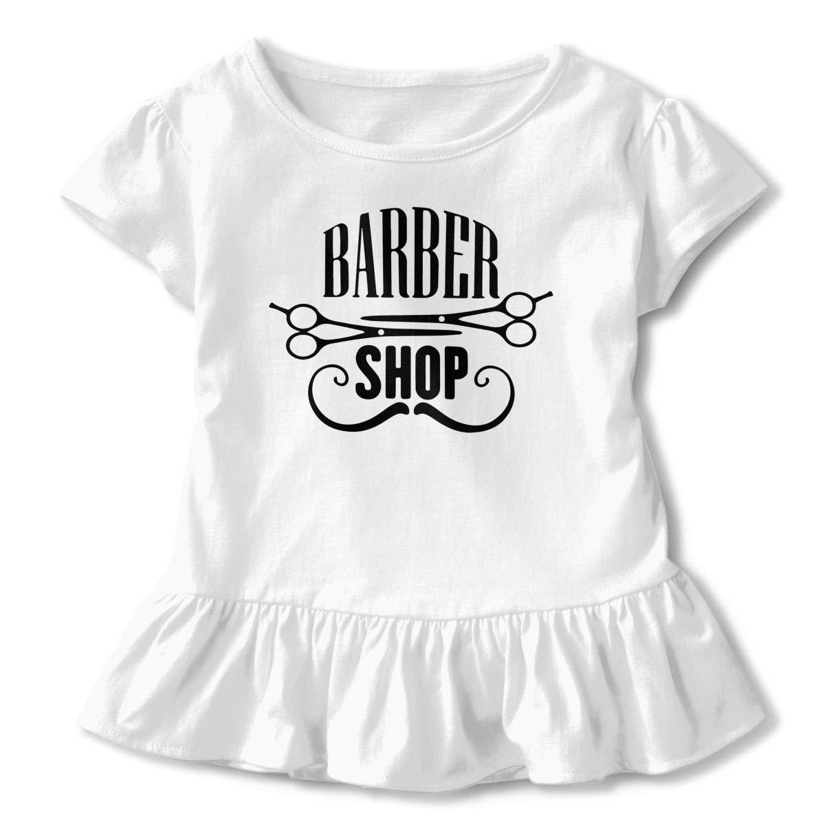 SHIRT1-KIDS Barber Shop T-Shirts Toddler//Infant Girls Short Sleeve Ruffles Shirt T-Shirt for 2-6T