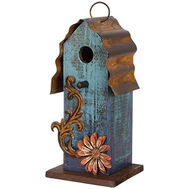 Carson - Aqua Blue w/ Red Flower Wood & Tin Roof 10  Hanging Birdhouse