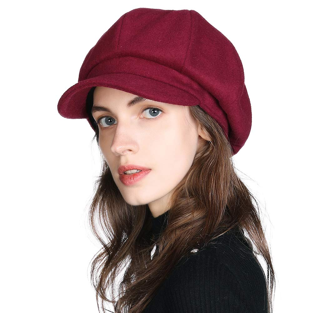 Fancet Winter Newsboy Cap for Women Ladies Conductor Paperboy Visor Flat Gatsby Berets Hat 55-61 cm