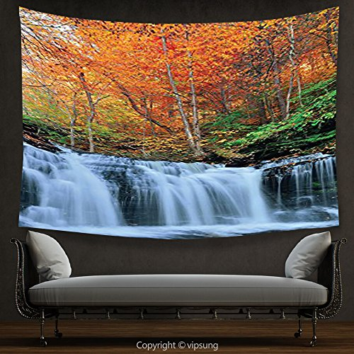 (House Decor Tapestry Waterfall Decor Collection Waterfalls in Autumn Park with Colorful Foliage Trees Picture Coral Green White Wall Hanging for Bedroom Living Room Dorm)
