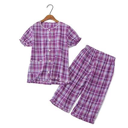 FHTD Conjunto De Pijama De Manga Corta En Cuadros Pijama De Color Morado para Mujer,