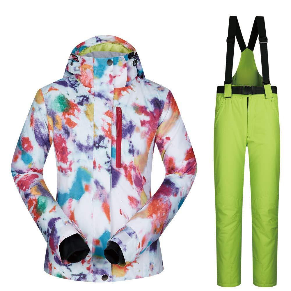 レディーススキースーツ アウトドアスポーツスキースーツ女性のスーツスノースーツ暖かい通気性の着用女性のスキースーツジャケット スキー休暇用 (色 : C8, サイズ : S) C8 Small