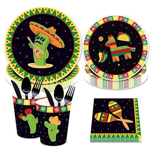 CC HOME Mexican Fiesta Party Tableware Set ,Mexican Fiesta Party Supplies for Birthdays, Cinco de Mayo ,Includes 7