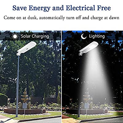 LEDMO Solar Lights Outdoor, Solar LED Street Light Auto On/Off Dusk to Dawn Integrated Waterproof IP65 Flood Light with PIR Motion Sensor All-in-one Wireless Solar Powered Commercial Security 6500K
