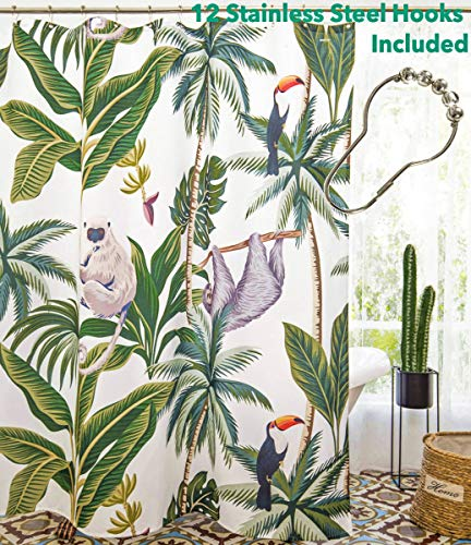 (Designhoarder Fabric Shower Curtain With 12 Rings Washable Tropical Animals Shower Curtain Liner With Weights For Bathroom 72 X 72 Inch)