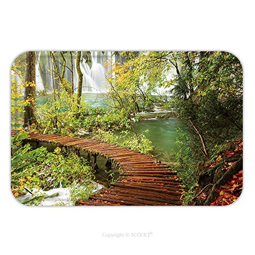 Flannel Microfiber Non-slip Rubber Backing Soft Absorbent Doormat Mat Rug Carpet Rainy Day And Wooden Tourist Path In Plitvice Lakes National Park Croatia 514485652 for - National Parks Yukon In