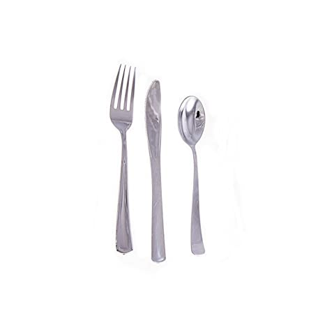 De la cubertería de plata juego de tenedores desechables cucharas cuchillos metálicos de Fiesta de la boda de la barbacoa de jardín de Catering Picnic ...
