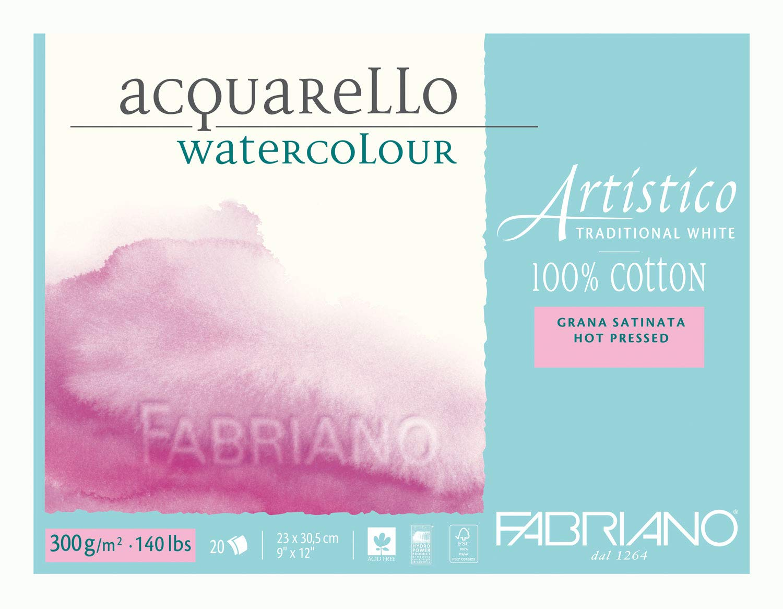 """Fabriano Artistico 140 lb. Hot Press 20 Sheet Block 9x12"""" - Traditional White"""