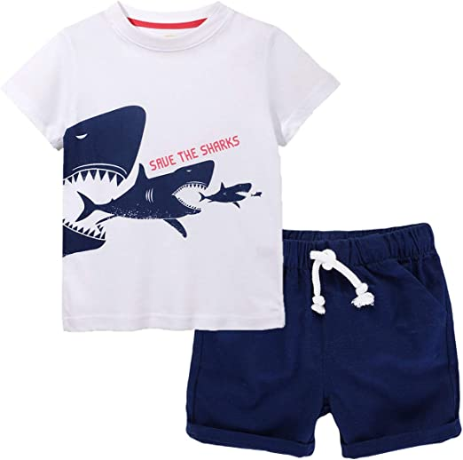 puseky Toddler Kids Baby Boys Crocodile T-Shirt Top Shorts Pants Summer Outfits Set