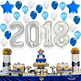 """2018 Balloons, Silver and Blue Decorations Kit - Large 40""""   Great Graduation Decorations For Graduation Party Supplies 2018   Graduation Balloon   Grad Party Decor   New Year's Eve"""