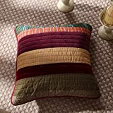 DaDa Bedding Set of Two - Classical Desert Sands Cotton Patchwork - Quilted Accent Pillow Cushion Covers - Striped Velveteen Autumn Warm Earthy Tones Multi-Colorful - 18