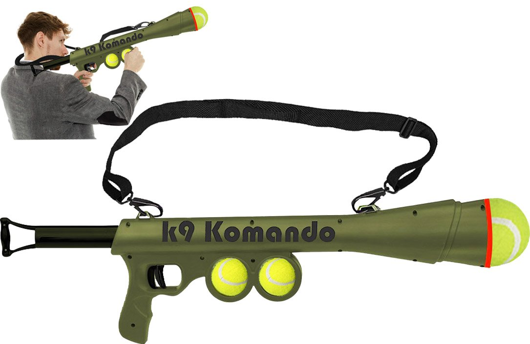 LavoHome Semi Automatic Blast Komando K-9 Tennis Ball Launcher Gun with 2 Squeaky Balls for Pets