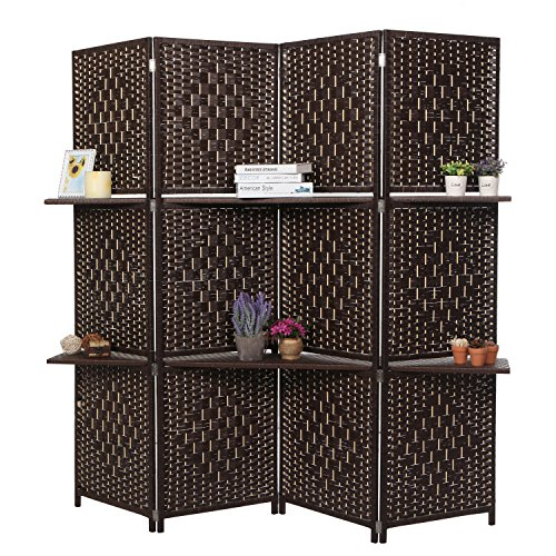 Dark Brown Wood 4 Panel Paper Rope Woven Screen Divider / Partition Wall w/ 6 Display Shelves - MyGift
