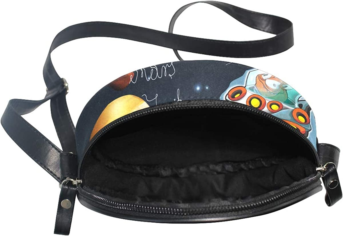 KEAKIA Cartoon Space Battles Round Crossbody Bag Shoulder Sling Bag Handbag Purse Satchel Shoulder Bag for Kids Women