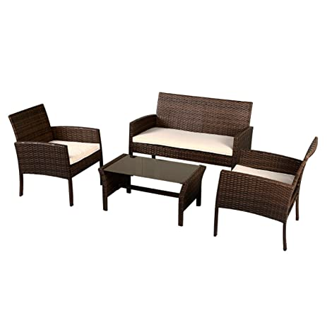 Amazon Tangkula 4 PCS Patio Wicker Sofa Set Outdoor Rattan