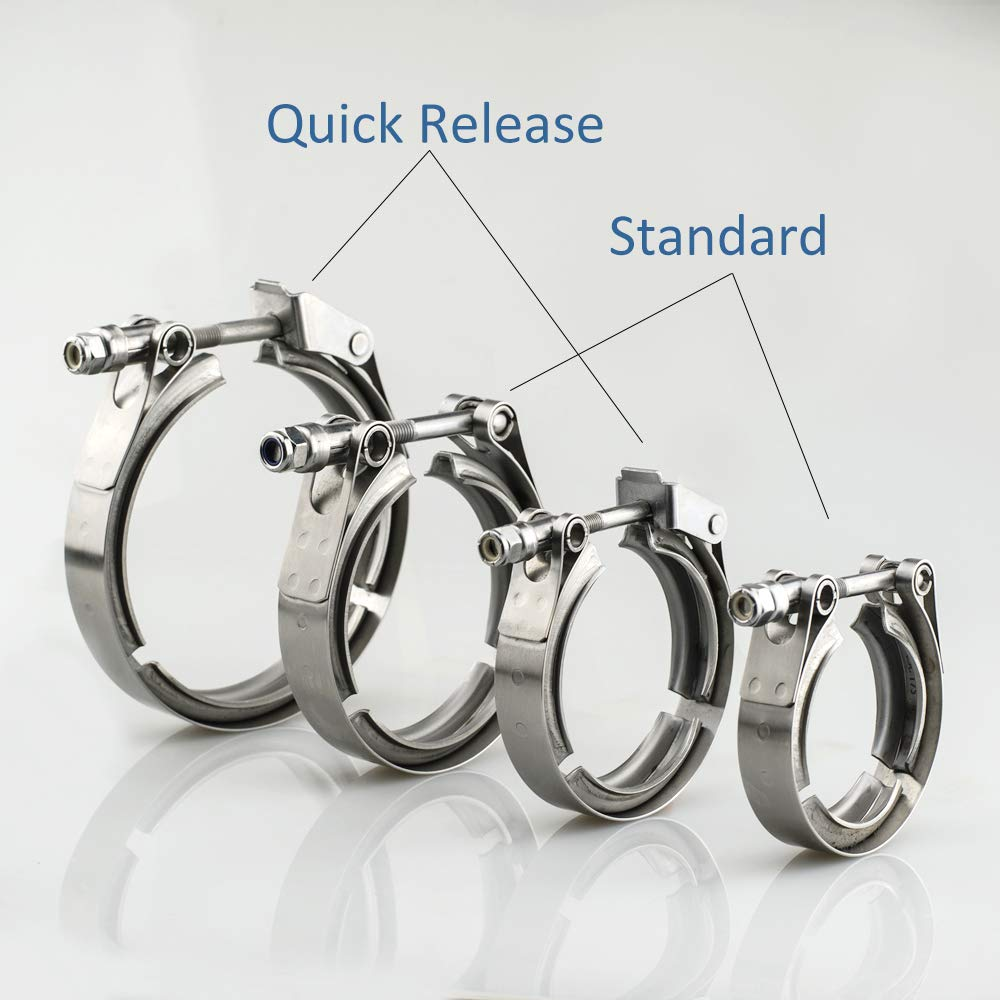 yjracing 4PCS 3.5 Inch 89mm Stainless Steel V Band Quick Release Mild Steel Male Female Flange