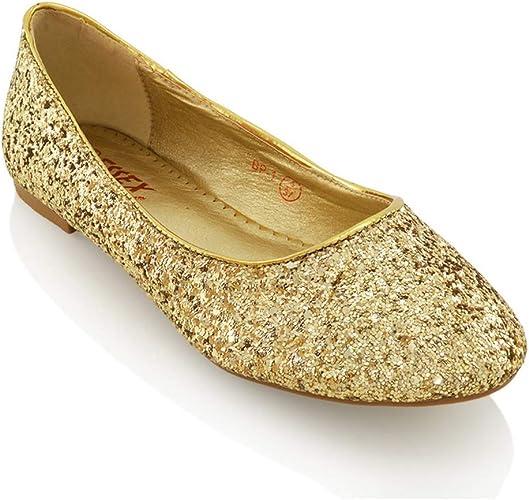 Womens Ladies Flat Ballet Glitter
