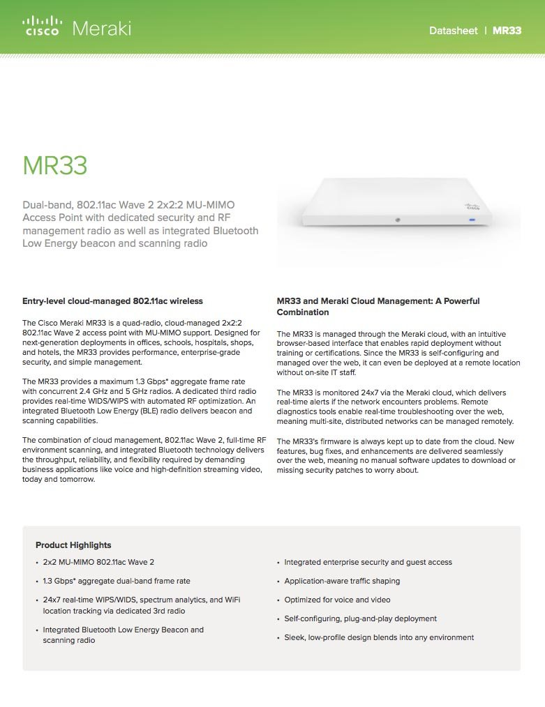 Cisco Meraki MR33 Quad-Radio 802.11ac Wave 2 Access Point, 1.3 Gbps, 802.3af PoE with 5 Years Enterprise License by Meraki (Image #3)