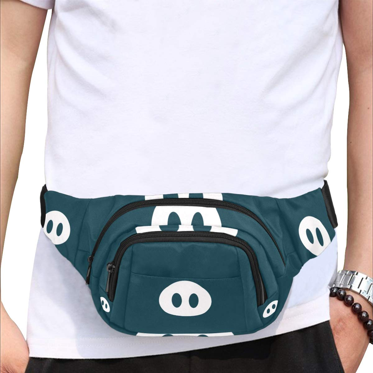 Cartoon Funny Pink Pig Nose Fenny Packs Waist Bags Adjustable Belt Waterproof Nylon Travel Running Sport Vacation Party For Men Women Boys Girls Kids