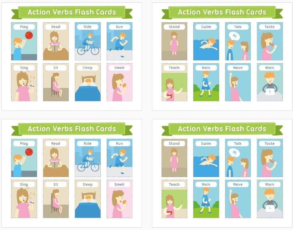 Jyyc Verbes D Action Anglais Action Verbes Mur De Mur Maternelle Ecole Primaire Salle De Classe Decoration A4 Joint En Plastique 4 Feuilles Amazon Fr Cuisine Maison