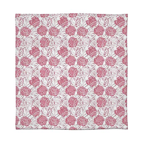 - C COABALLA Flannel Blanket,Rose,for Living Room Bedroom Hotel,Size Throw/Twin/Queen/King,Artistic Girlish Pattern Rose Flower Silhouettes Outlines