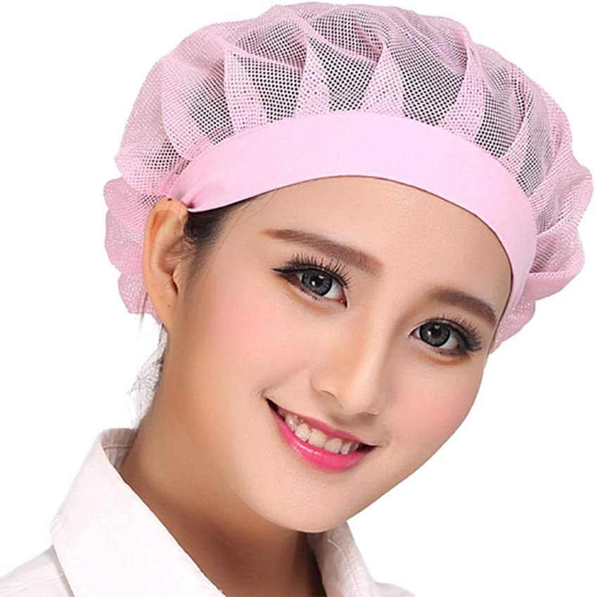 Pack Of 2 Pink Adjustable Aifele Women Men Chef Mesh Hat With