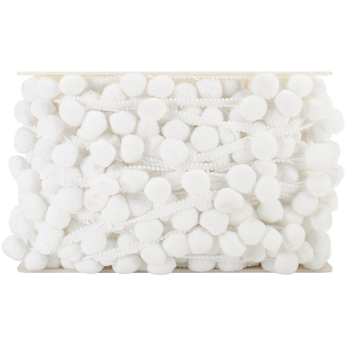 Expo Bonita Pom Pom Fringe 1 – 1/2-inch x 20YD Blanco, Color Blanco, 20YD acrílico aae9ae