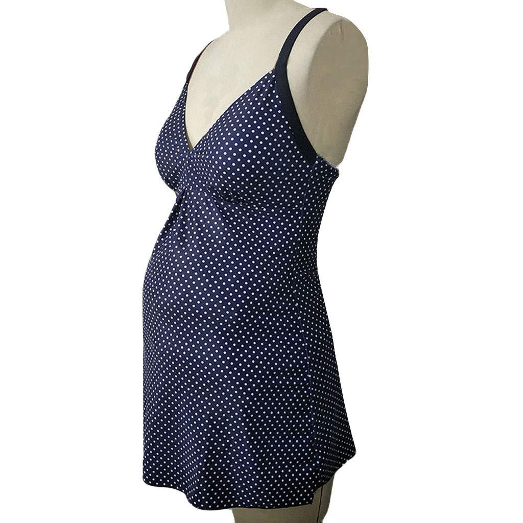 MOIKA Maternity Tankinis Women Dot Sling Print Bikinis Swimsuit Beachwear Pregnant