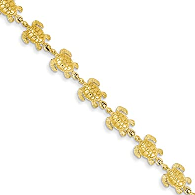 14K Yellow Gold Ocean Sea Life Turtle Links Bracelet 7 inches