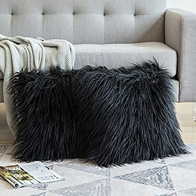 MIULEE Decorative New Luxury Series Merino Style Fur Throw Pillow Case Cushion Cover for Sofa Bedroom Car