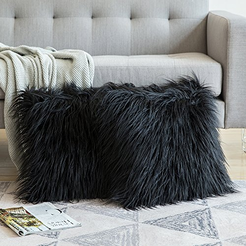 MIULEE Pack of 2 Decorative New Luxury Series Style Black Faux Fur Throw Pillow Case Cushion Cover for Sofa Bedroom Car 18 x 18 Inch 45 x 45 cm (Black Pillow Decorative Throw)
