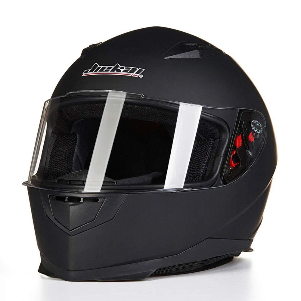 HYH ABS素材オートバイフルフェイスヘルメットメンズフォーシーズンズ機関車フルカバーヘルメット(襟付き) いい人生 (Color : Black, Size : L) Large Black B07S2FTY4L