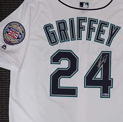941013aa60c Image Unavailable. Image not available for. Color  Seattle Mariners Ken  Griffey Jr. Signed Auto White Majestic Cool Base Jersey ...