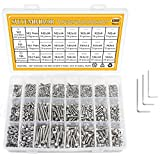 304 Stainless Steel Screws Nuts and Washers 1200PCS, Sutemribor M2 M3 M4 Hex Socket Head Cap Bolts Screws Nuts Washers Assortment Kit with Three Hex Wrenches