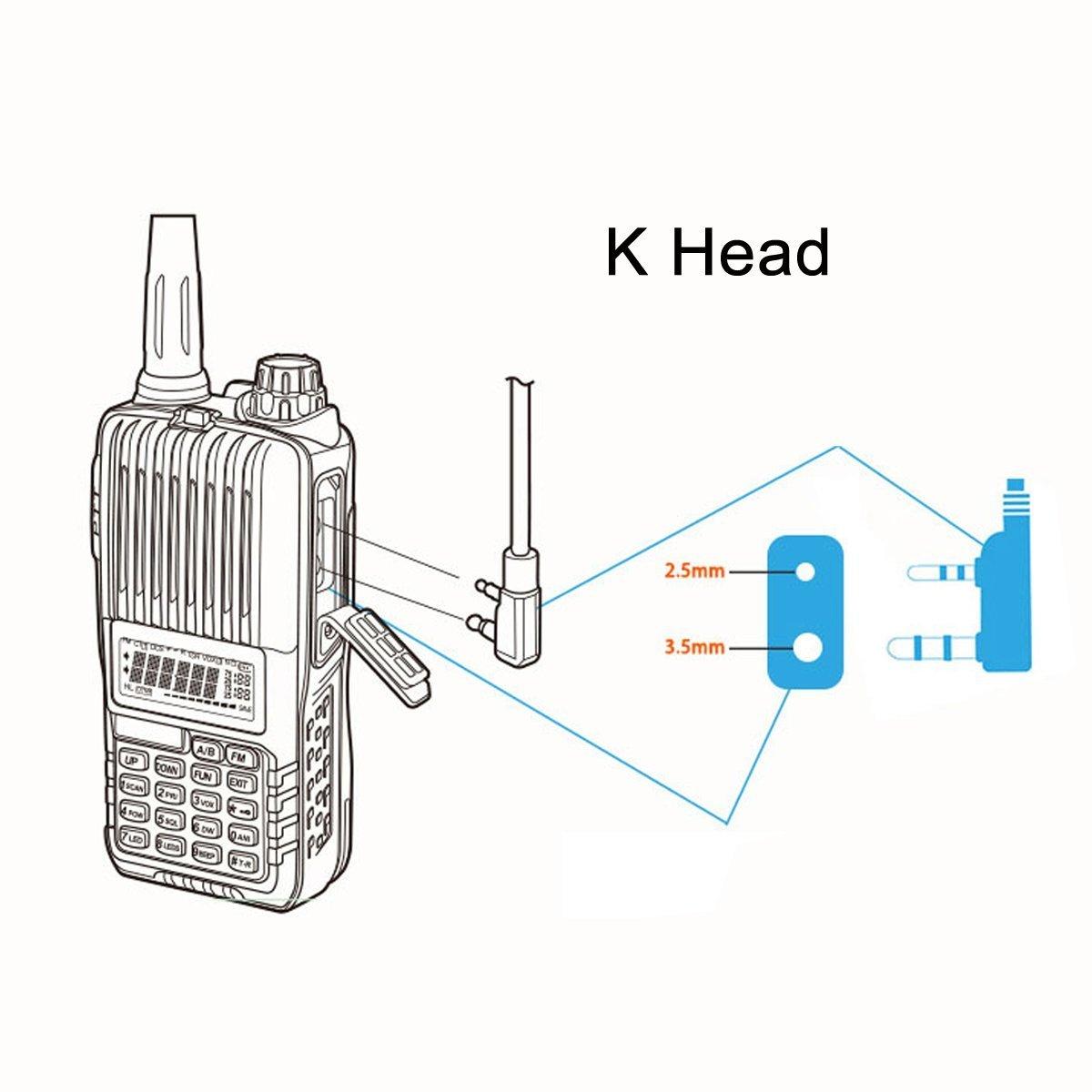 10 Pack Retevis 2 Pin Acoustic Tube Headset Walkie Talkies Earpiece for Kenwood Radio Baofeng UV-5R Retevis H-777 RT21 RT22 Two Way Radio