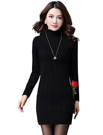 a5c18acf9f Tanming Women s Mock Neck Cable Knit Long Sweater Dress at Amazon ...