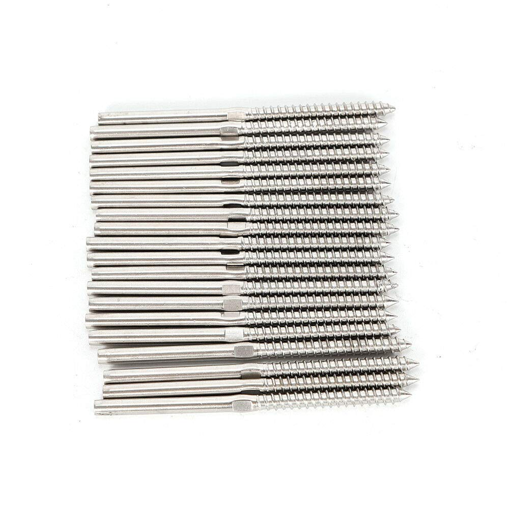 T316 Stainless Steel Lag Screw Stud Thread Fitting Terminal for 1//8 Cable Railing Rigging Wire Rope Deck Stairs Hand Crimp Swage Marine Grade 100