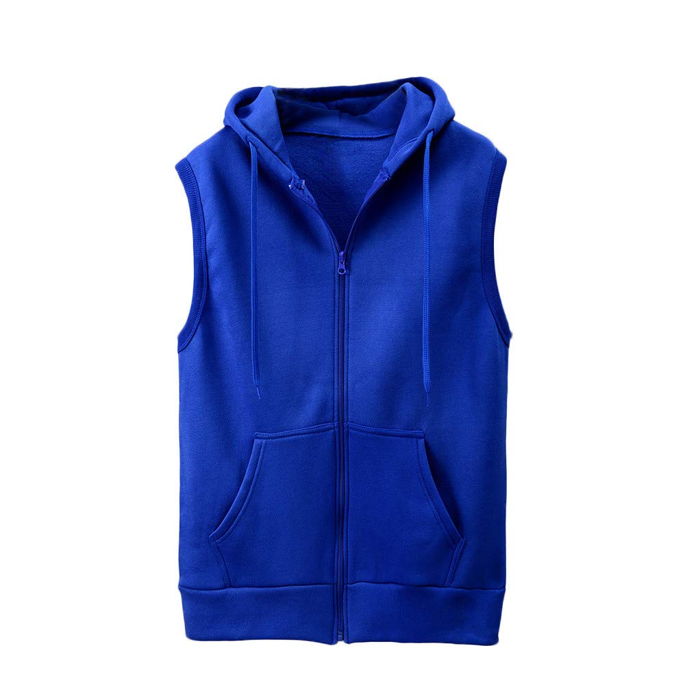 WUAI Clearance Men's Hoodie Jackets Sleeveless Slim Fit Waistcoat Solid Color Athletic Sports Tops(Blue,US Size S = Tag M)