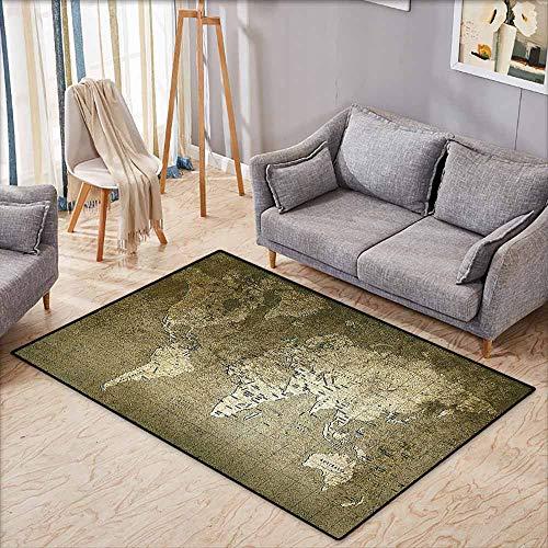 Floor Bath Rug Antique Decor Old World Map with Great Texture Nostalgic Ancient Plan Atlas Trace of Life World Print Khaki Beige Machine wash/Non-Slip W6'8 xL4'9