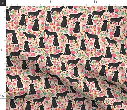 (Spoonflower Floral Black Lab Fabric - Florals Fabric Pink Dog Modern Decor Labrador Home Small Pet Portrait Gift Print on Fabric by The Yard - Minky for Sewing Baby Blankets Quilt Backing Plush Toys)