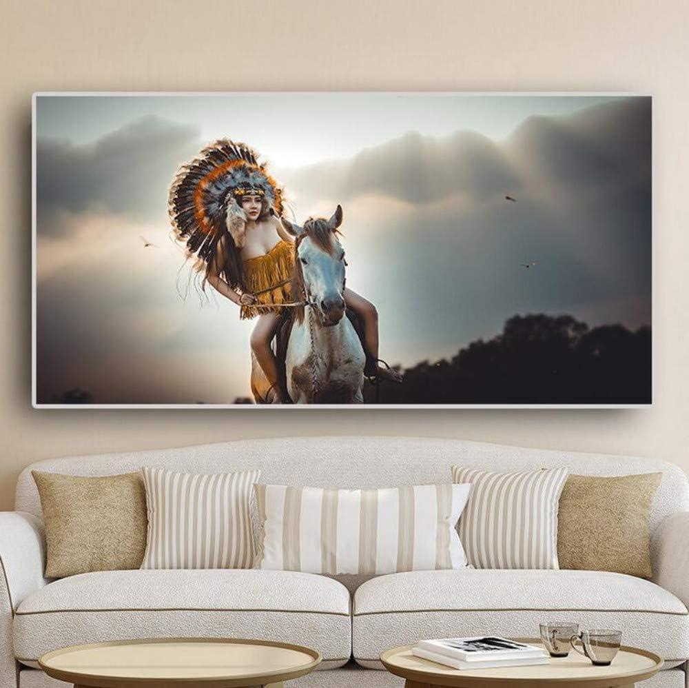 Chaoaihekele Nativos Americanos Indios Pintura Posters Y Estampados Mujer Caballo Retrato Arte De La Lona Escandinavo Cuadro De La Pared Para La Sala De Estar Sin Marco 50X100Cm