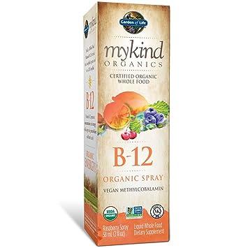 MYKIND Organics, B-12 de aerosol org_nico, frambuesa, a 2 oz (58 ml) - Jard_n de la Vida