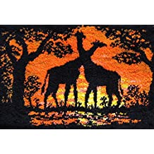 M C G Textiles Latch Hook Kit 39-1/2-Inch by 26-Inch-Giraffes At Sunset
