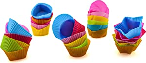 Silicone Cupcake Liner, Reusable and Non-stick Baking Cups/Muffin Cups/Cupcake Liners/Chocolate Holders/Truffle Cups,5 Shapes,20 Pieces Colorful 7cm